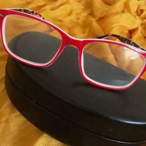 Betsey Johnson Red Retro flower Power Eye Glasses